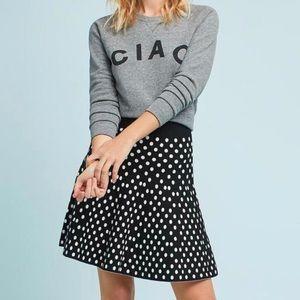 Anthro Maeve Polka Dot Knit Flare XS Skirt